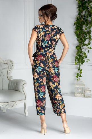 Salopeta dama bleumarin eleganta cu imprimeu floral