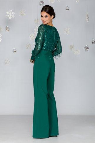 Salopeta LaDonna verde cu bustul din paiete si cordon in talie