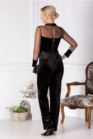 Salopeta Leonard Collection neagra din catifea cu tull argintiu