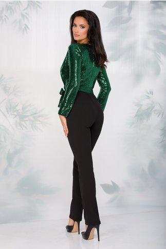 Salopeta Moze eleganta cu paiete verzi la bust