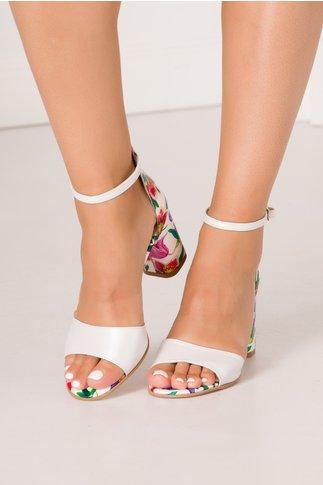 Sandale alb perlat cu imprimeu floral deosebit