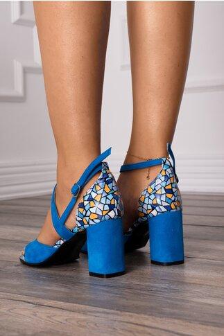 Sandale albastre cu imprimeu stone