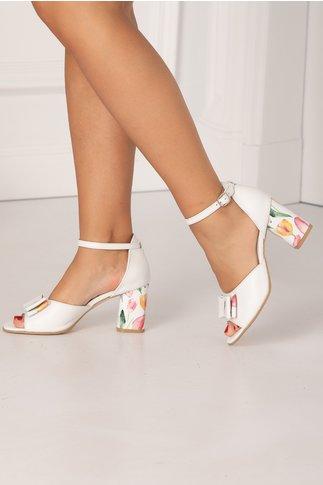 Sandale albe cu fundita maxi si imprimeu cu lalele multicolore