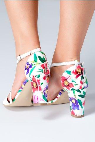 Sandale albe cu insertii tip piele de crocodil si motive florale
