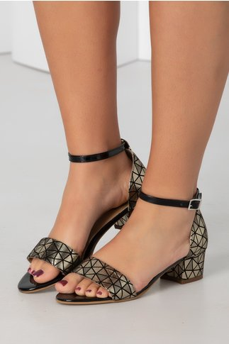 Sandale aurii cu toc jos si insertii negre