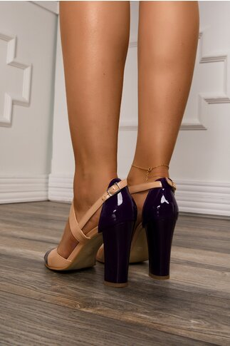 Sandale bej cu detalii mov