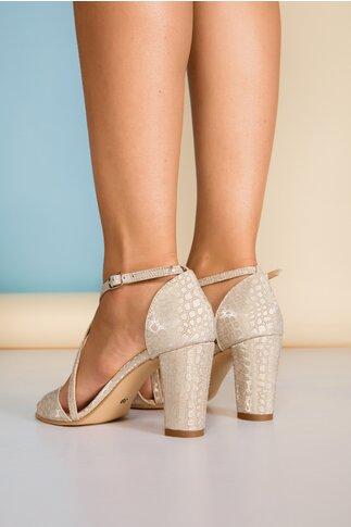 Sandale bej cu insertii stralucitoare
