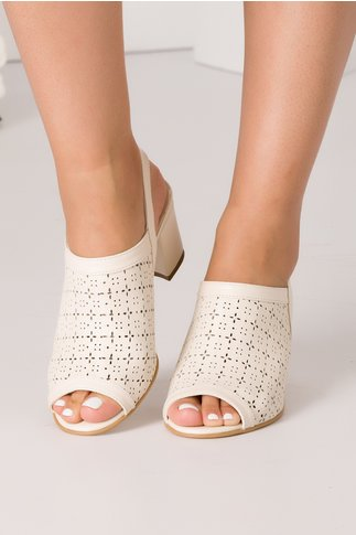 Sandale bej din piele naturala cu perforatii