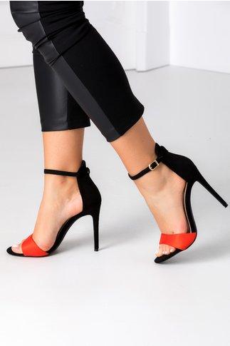 Sandale corai cu negru din piele intoarsa ecologica