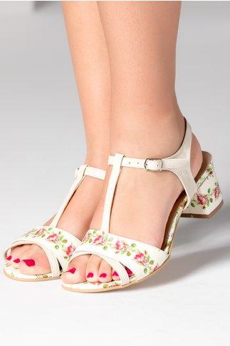 Sandale cu toc jos ivory cu imprimeu floral