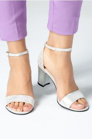 Sandale dama argintii cu toc mediu