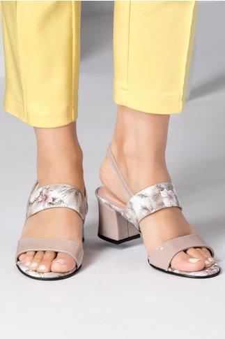 Sandale dama bej cu detalii florale