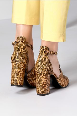 Sandale dama galbene cu insertii tip plasa