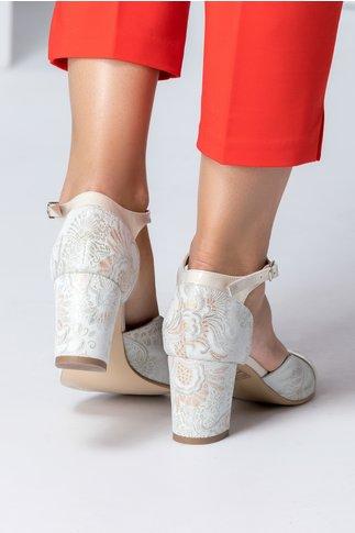 Sandale dama gri cu detalii florale