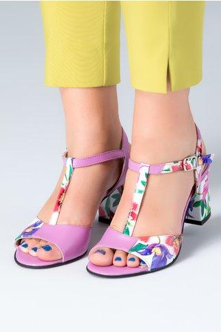 Sandale dama lila cu imprimeu floral si toc mediu