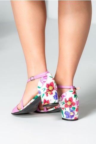 Sandale dama lila cu imprimeu pe toc