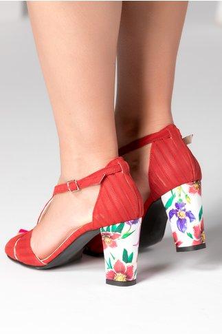 Sandale dama rosii cu imprimeuri florale
