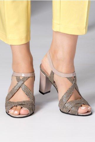 Sandale dama somon cu insertii tip plasa