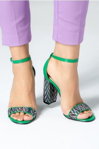 Sandale dama verzi cu insertii colorate