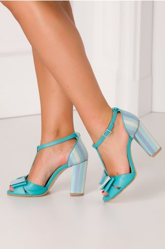 Sandale elegante turcoaz cu fundita si dungi colorate