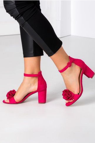 Sandale fucsia cu floare 3D