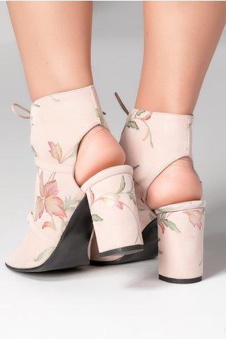 Sandale inalte cu siret rose si imprimeu