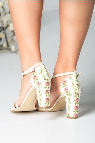 Sandale ivory cu bareta si imprimeu floral