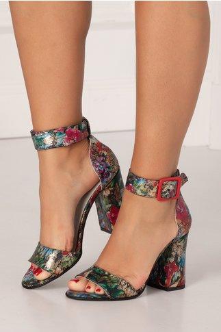 Sandale multicolore cu imprimeu floral cu aspect vintage