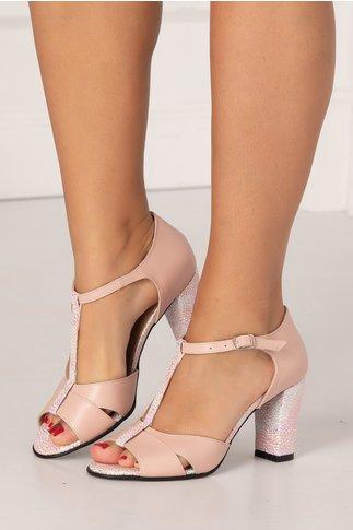 Sandale Naba roz prafuit cu picatele argintii