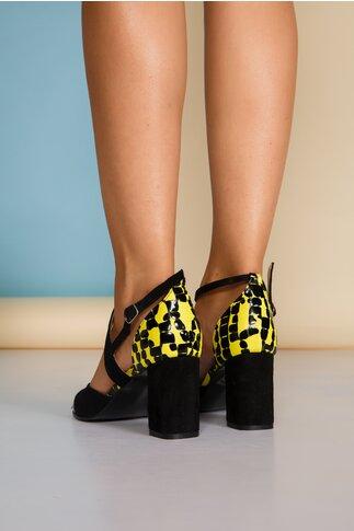 Sandale negre cu imprimeu galben tip dots