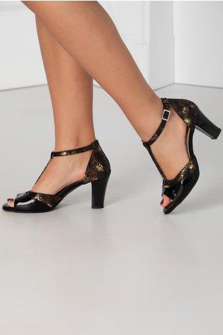 Sandale negre cu insertii aurii in degrade