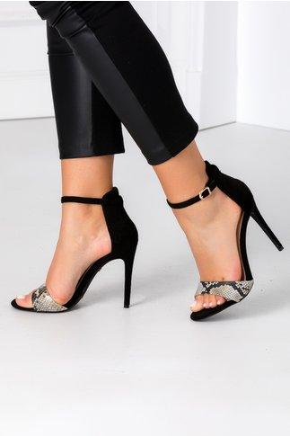Sandale negre cu print sarpe din piele intoarsa ecologica