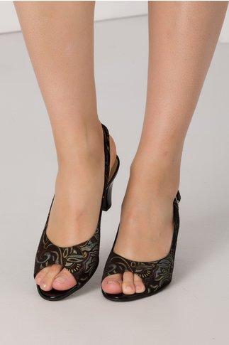 Sandale negre dama din piele intoarsa cu imprimeuri florale