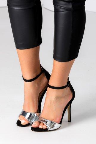 Sandale negru cu argintiu din piele intoarsa ecologica