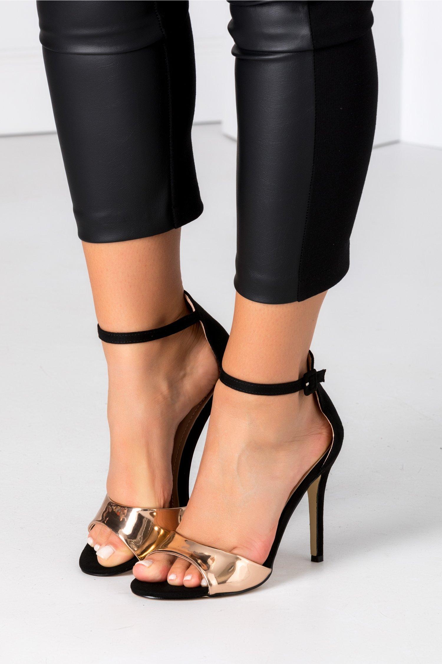 Sandale negru cu auriu din piele intoarsa ecologica