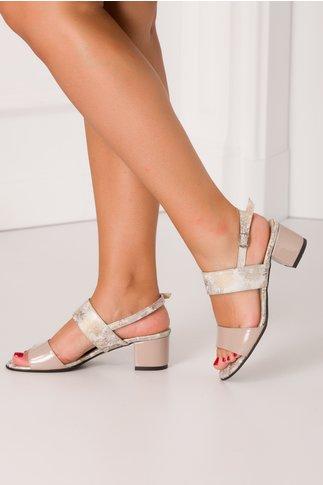 Sandale nude cu imprimeu delicat