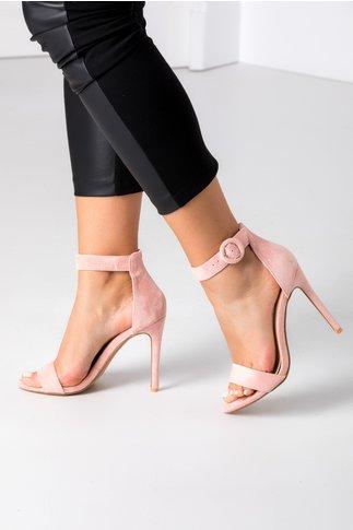 Sandale roz cu bereta si toc ascutit