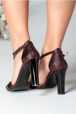 Sandale roz metalic cu imprimeu negru