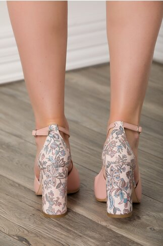 Sandale roz prafuit cu imprimeu floral predominant albastru