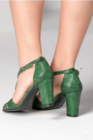 Sandale verzi cu imprimeu negru