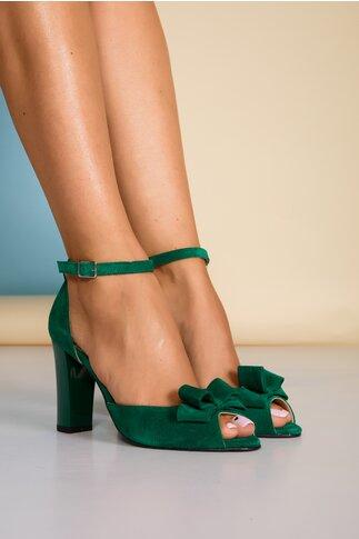 Sandale verzi din piele intoarsa cu fundita pe varf