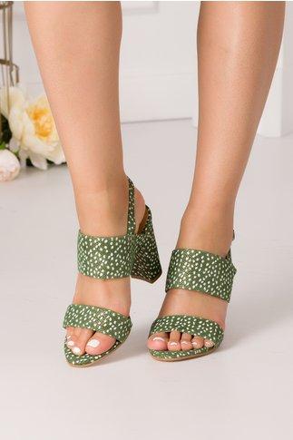 Sandale verzi din piele intoarsa cu imprimeu