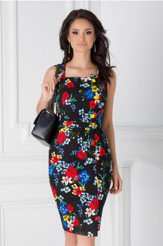 Sarafan negru Amira cu imprimeu floral colorat