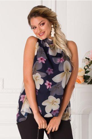 Top Lessie bleumarin cu imprimeu floral pastelat