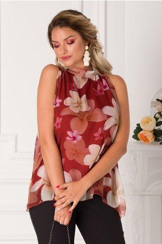Top Lessie caramiziu cu imprimeu floral pastelat