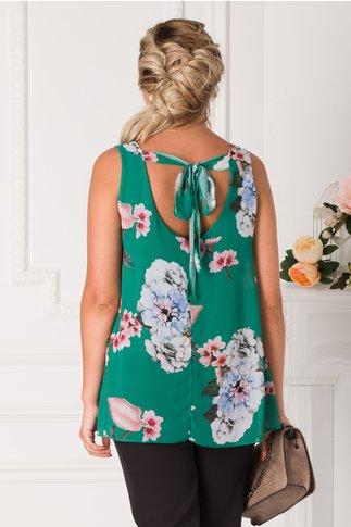 Top Lulu verde cu imprimeu floral si fundita la spate