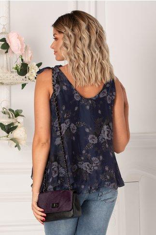 Top over size bleumarin cu imprimeu floral