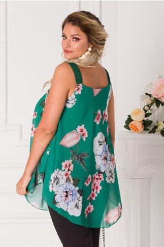 Top verde cu imprimeu floral