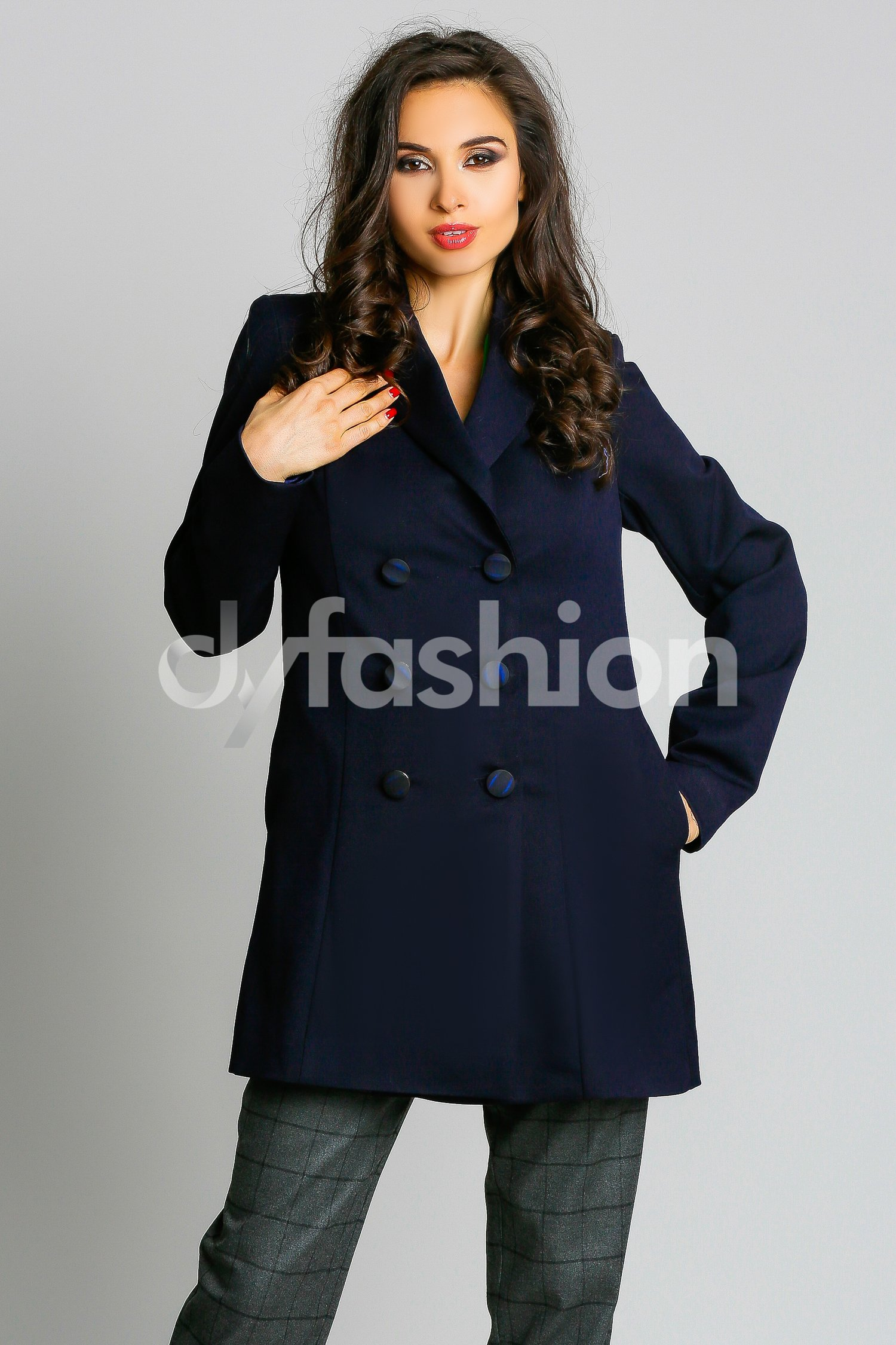 Magazin Online Haine - Trench Bleumarin Elegant Military -Fashion-4u.Eu
