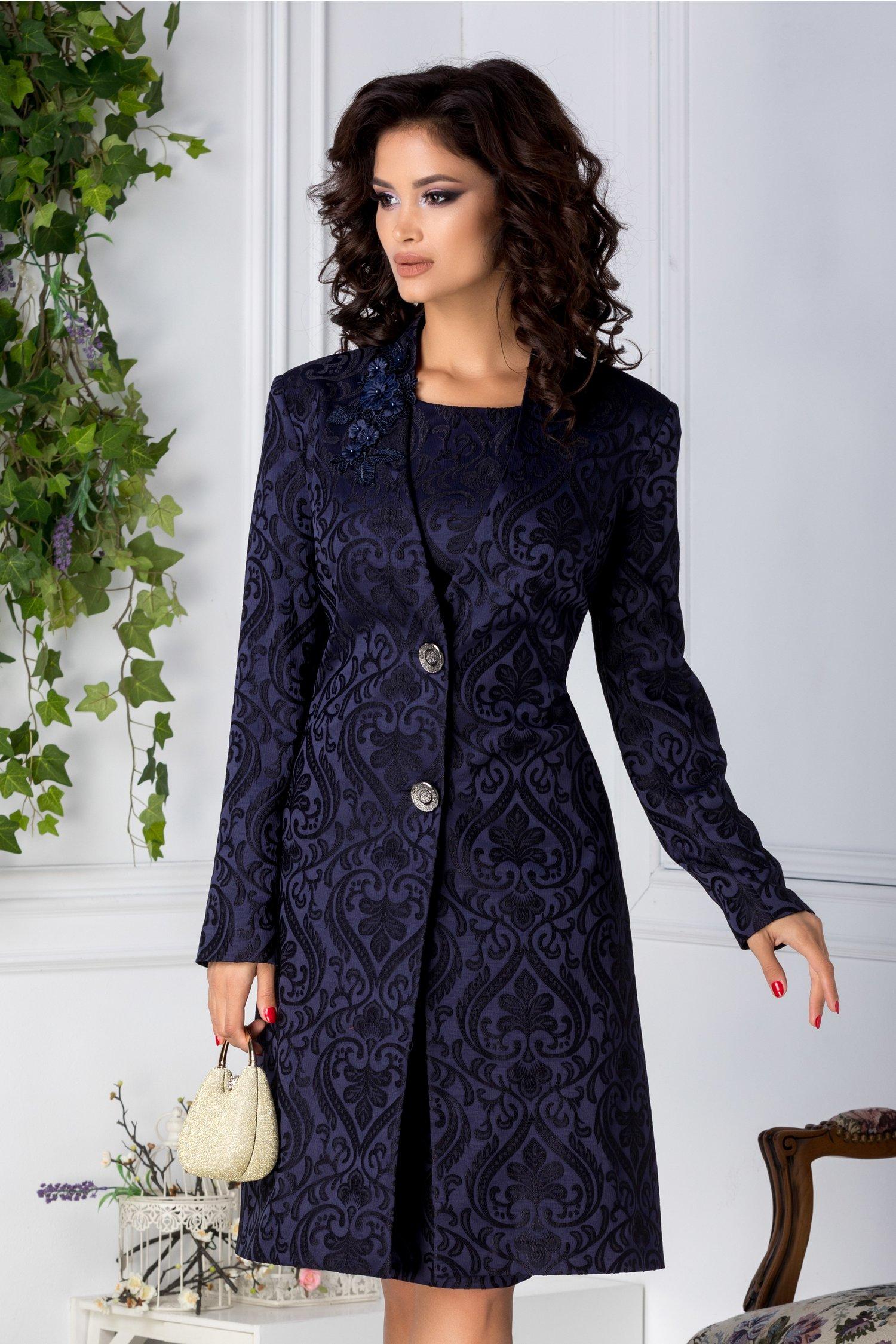Trench Leonard Collection elegant bleumarin cu motive florale negre
